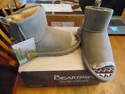 Nib Womens Bearpaw Molly Suede Boots Size 9 Gray Fog Open Toe And Back Woolblend