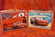 Lot Of 2 Disney Pixar Cars Metal Tin Lunchboxes Red Embossed Lightning Mcq Mint