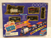 Royal Blue 19 Piece Battery Operated Train Set In Box Excellent Condition