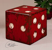 Six Large 19 Accent End Table Vegas Dice Stool Aged Rubbed Red And Ivory Finish