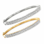 Diamond Set Two Bangle Bracelets In Sterling Silver And 18kt Gold Over Sterling