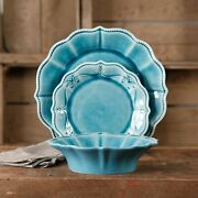 12-piece Traditional Dinnerware Farmhouse Lace Set Dishes Plates And Bowls Denim