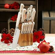 The Pioneer Woman 14-piece Cowboy Rustic Cutlery Knives Set With Block, Linen