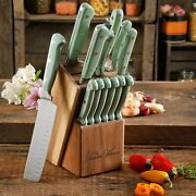 The Pioneer Woman 14-piece Cowboy Rustic Cutlery Knives Set With Block, Mint