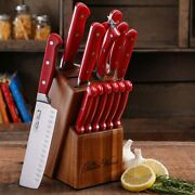 The Pioneer Woman 14-piece Cowboy Rustic Cutlery Knives Set With Block, Red