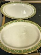 2 X Vintage Dinner Serving Plates With Dragon Design Antique Collectables