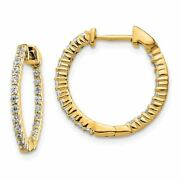 14k Gold Polished Diamond In And Out Hinged Hoop Earrings 0.45ctw Msrp 1992