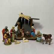 Vintage German Nativity W/13 Figures And Creche Colorful Rubberized Plastic