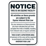 Equine Liability Sign, Statute Horse Barn Stable Farm Sign,
