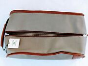 Cutter Buck Mens Travel Toiletry Bag Shaving Utility Storage Case Leather Canvas