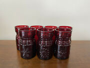 Wheaton Glass Ruby Red Four Seasons Juice Glasses Set Of 7