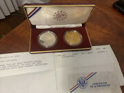 Rare 1988 -p America In Space Us Mint Silver And Bronze Two Coin Proof Set W/coa