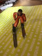 Vintage Lead Figure Snow Skier With Skis And Poles Nice Boy About 3 Long