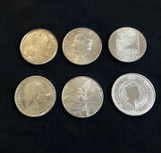 Mixed Lot Of Six Different Silver World Coins Beautiful Collection