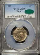 1913 Type 1 Buffalo Nickel Pcgs Ms67+ W/ Cac Sticker - Stunning Color And Luster