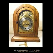 Antique 1916 Large Waterbury Mantle Clock Westminister Chimes Ornate Brass Face