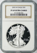 2003-w Proof 1 American Silver Eagle Ngc Pf69 Ultra Cameo