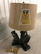 Rare Authentic Maitland Smith Bronze Monkey See Hear Or Speak No Evil Table Lamp