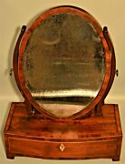 Antique Finlay Early Georgian Federal Inlaid Shaving Mirror Vanity Dresser Chest
