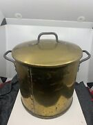 Large Antique Copper / Brass Rivited Pot With Lid