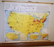 Antique 1966 Usa 'our America' Denoyer Geppert Wall Map Manufacturing And Minerals
