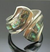 Taxco Mexico Vintage Abalone Inlay Sterling Silver Large Bypass Bangle Bracelet