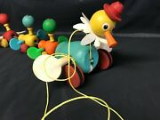 Wood Pull Toy Fisher Price Gabby Goofies Mama Duck And Babies 14 Vintage 1950s