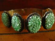 Antique Chinese Carved Apple Green Jade Silver Bracelet Stunning