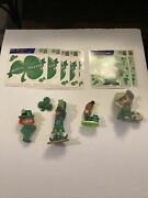 Vtg St Patrick's Day Lot Leprechaun Figurines And Clip On Plastic Pin Back Clings