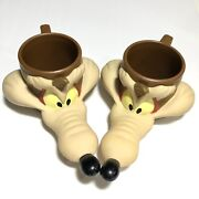 Vintage 90s Wile E Coyote Mug Looney Tunes 1993 Promotional Coffee Cup Lot Of 2