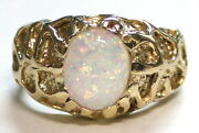 Created White Opal Solid 10ky Or 14ky Gold Menand039s Ring R168-handmade
