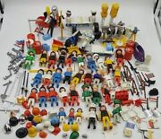 Geobra Playmobil Large Lot Vintage Figures Horses Weapons And Accessories