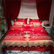 Egypt Cotton Golden Palace Royal Wedding Bedding Set Embroidery Lace Cover 2020