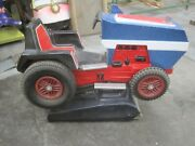 Antique Coin Operated Tractor John Deere Farmer Kiddie Ride Blue/red