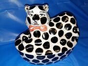 Hand Painted Ceramic Black And White Spotted Cat Cookie Jar