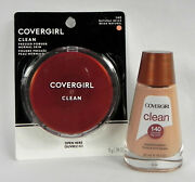2 Cover Girl Clean Liquid Foundation + Pressed Powder, 140 Natural Beige, New