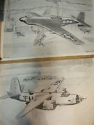 3 Very Rare 1943 Drawing Prints Fighter Plane Scenes-patterson Rh Flight 16a