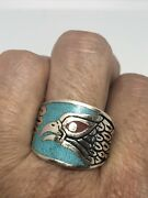 Vintage Silver White Bronze Mens Southwest Hawk Turquoise Inlay Ring Size 11