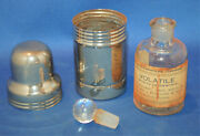 An Antique Or Vintage Metal Bottle Case With Clear Glass Bottle Apothecary