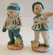 Vintage Coventry Ware Chalkware Boy Girl Statues Figurines With Birds Rare