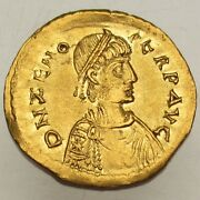 Zeno 474-491 Ad Gold Semissis Second Reign Constantinople 476-491ad 2.20g/19mm