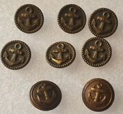 8 - Us Navy Vintage Antique Bronze Metal Anchor Rope Buttons Lot 5/8