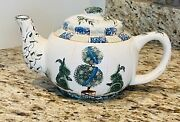Kathy Hatch Collection Floral And Bunny Tea Pot W/topiaries And Christmas Tree