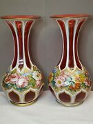 Pr. Antique Bohemia Cased Cut Cranberry Glass Vases W/flowers And Golden Accents