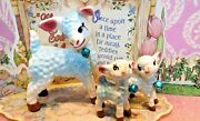 Vtg Anthropomorphic Blue Mama Lamb W Two Lambs On Chain Leashes W Blue Bells