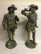 Antique Pair Of Large Spelter Metal Statues Andnbspansonia 19 Tall