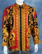 Authentic Gianni Versace Vintage Silk Shirt Print Size It 50 From The 1990and039s