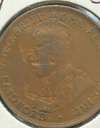 Error 1921 Australian One Penny Planchet Flaws To Obverse