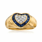 Vintage Sapphire And Diamond Heart Ring In 18kt Gold Size 6.75