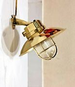 Vintage Old Marine Ship Salvage Wall Sconce Light Fixture With Shade Brass 10pcs